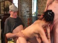 Horny brunette girl takes two hot juicy cocks from old men