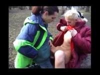 Horny German public sex in the park, mature ladies