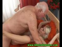 Skinny silicone chick fucking an old man