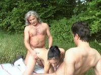 Old school old and young banging outdoors