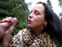 Brunette whore slurps massive rod