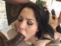 Brunette chick deepthroats a huge black dong
