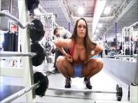 Extra sexy babe is working out in front of the camera