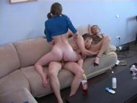 Old mum learns her daughter how to squeeze a cock