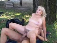 Blond granny will get a hardcore treatment