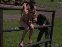 Elise Graves tied up and humiliated outdoor