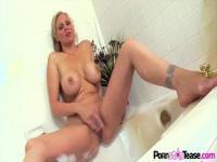 Horny mum rubs shaved pussy