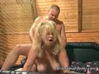 Granny banging young dude in the cabin