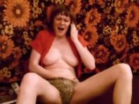 Mature woman masturbating on the phone