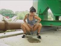 Filthy German MILF is pissing in public
