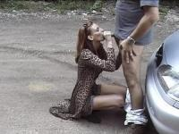 Sexy whore payed to lick his anus outdoors