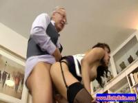 Old man fucking the young maid
