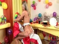 Teen party girl rips her pussy on a clown's lap.