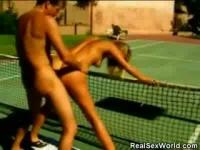 Bombshell gets doggy shagged on the tennis court.