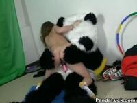 Flexible innocent teen with a panda
