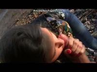 Cute and naughty young chick eating dick by the river.