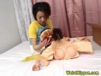 Adorable Japanese 19 years old teen in a solo game at home