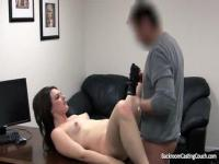 Lusty babe gets boned hard by a fake agent.