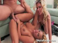 Two blonde chicks with huge tits get fuck from one horny guy
