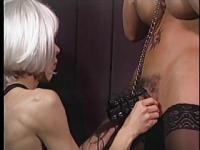Tranny gets gagged and dick bound