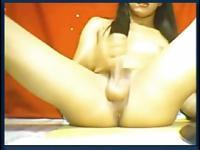 Big cock Asian ladyboy jerks on cam.