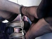 Transvestite Rachel jerking off into High Heels 2