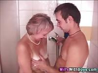 Granny fucked in the shower