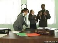 Interracial sex at the office
