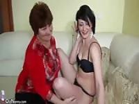 Young girl masturbates a granny