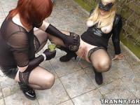 Mistress uses sissy crossdresser outdoors
