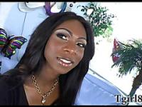 Ebony shemale masturbates her enormous dick which made her cum on her hands