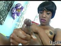 Ebony shemale with a small fake tits and a semi short hair masturbates