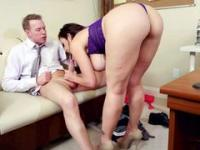 Mesmerizing mature business lady with big boobs gets drilled
