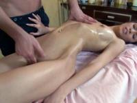 Coquette with slender body receiving a deep pussy massage