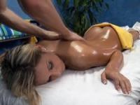 Tanned gal seduced and nailed by skilled masseur