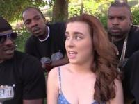 Poor white girl gangbanged by four black guys without any shame