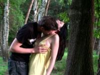 Forest scene: horny couple is fucking under the nearest tree