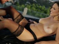 MILF in stockings was fucked against the background of city