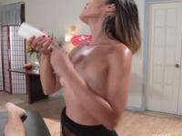 Sexy girl starts with giving a delicious blowjob in the massage room