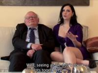 Old man watches while his adorable wife fucks a beautifuler guy