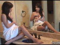 Nice Brunette loves taking care of her body in the mirror