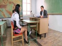 Double penetration and sweet cunnilingus in classroom