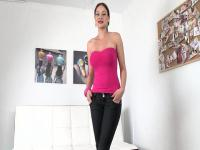 Abbie Cat comes in for casting bringing her perfect tits