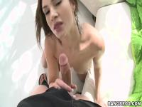 Amy Reid sucks cock after relaxing in a pool