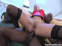 White blonde girl having sex with black man