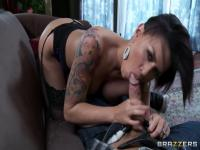 Eva Angelina gets convinced to suck and fuck on tape