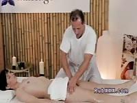 Sexy brunette wanking masseurs cock