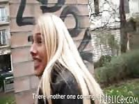 Eurobabe flashes her big tits and fucked