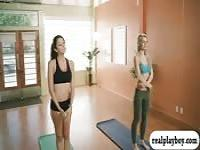 Yoga session with busty blond instructor