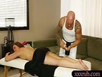 Sweet Maddy Oreilly sucks masseurs dick